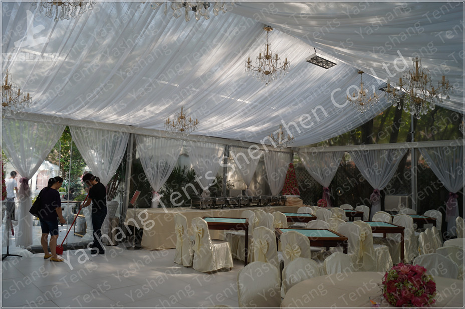 Backyard Transparent Outdoor Party Tents , Clear Party Tent Rentals With Lining Decorations